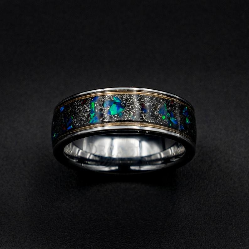 Meteorite ring Decazi opal ring wedding band mens image 0