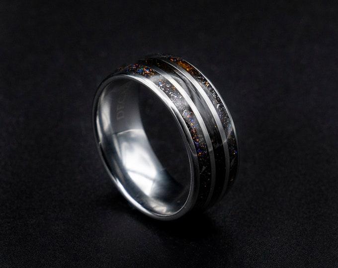 dinosaur bone wedding band, ring, jewelry, dinosaur jewelry, tungsten ring men, dinosaur bone meteorite ring, mens wedding band tungsten.