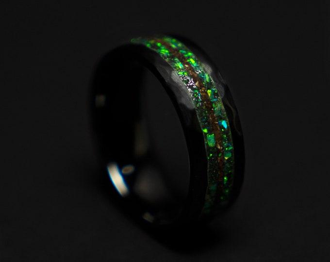 Dinosaur bone, mens ring, T rex fossil, tyrannosaurus meteorite ring, lapis lazuli, meteorite ring men, mens wedding band, unique mens ring