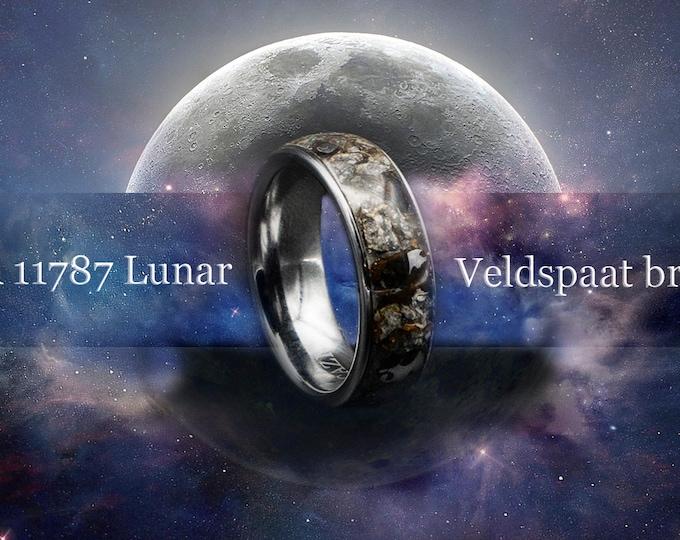 Lunar jewelry, Moon meteorite, Meteorite man ring, Mens wedding band, Pallasite meteorite, meteorite ring, human wedding band meteorite.