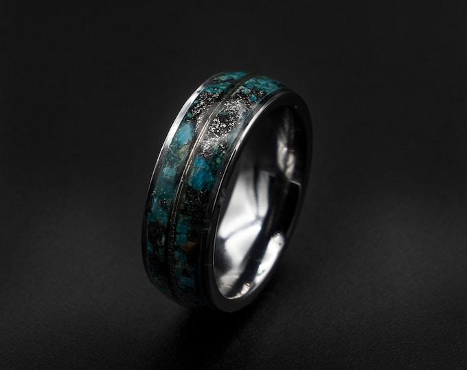 gold Meteorite ring, Chrysocolla ring, white gold ring, raw gemstone ring, human, gold wire ring, gold ring band, tungsten ring men.