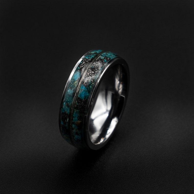 gold Meteorite ring Chrysocolla ring white gold ring raw image 0
