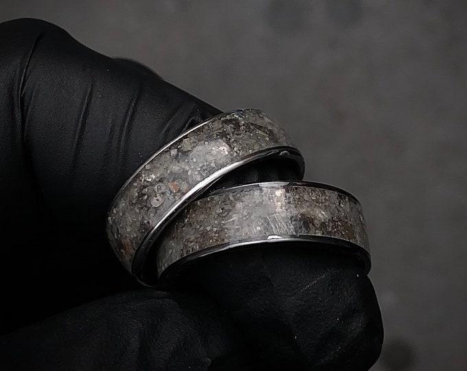 Moon meteorite, Lunar jewelry, Meteorite mens ring, Mens wedding band, Mens meteorite ring, meteorite ring, mens wedding band.