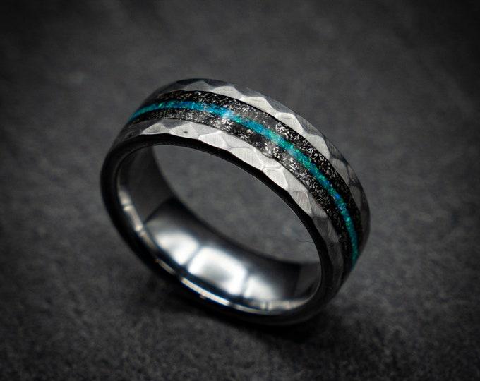 Unique mens wedding band, tungsten ring. Meteorite ring, opal ring. personalised, tungsten ring. personalized ring. Galaxy Opal. opal ring.