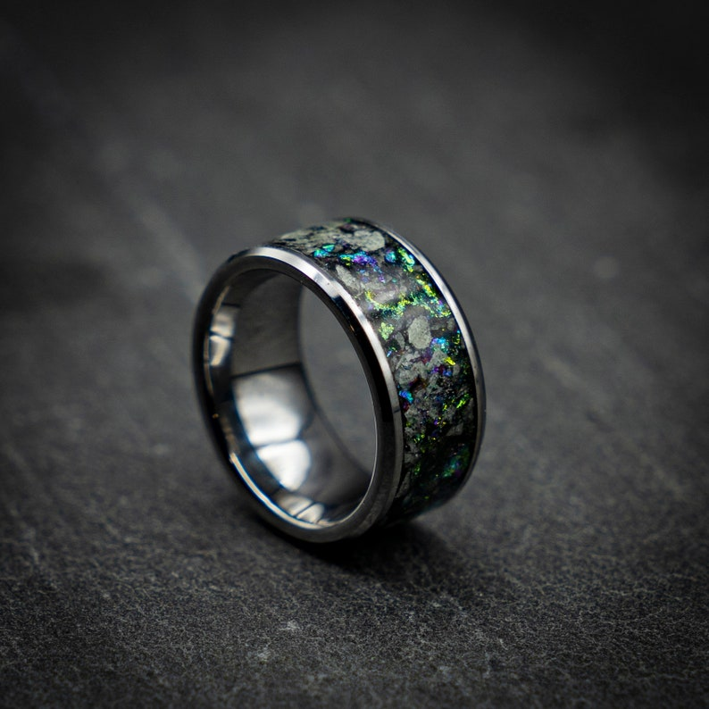 Unique mens rings. Glow in the dark ring blue opal ring valentines day gift for him Mens wedding band Valentine gift Glowstone ring