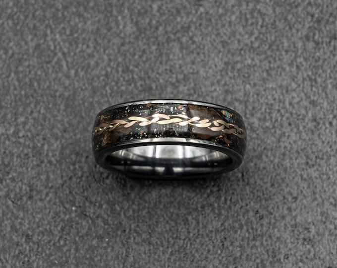 gold braid, dinosaur bone ring, meteorite ring, Gold tungsten ring, tungsten ring men, mens wedding band, mens ring.