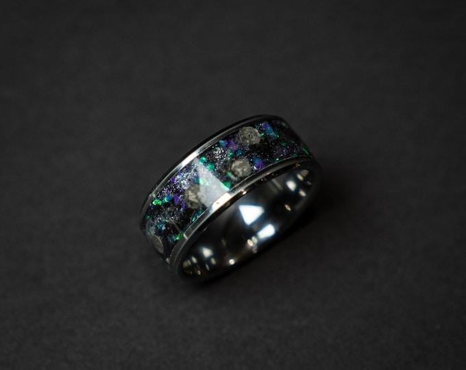 Galaxy Moon meteorite, Lunar jewelry, Meteorite mens ring, Mens wedding band, Mens meteorite ring, meteorite ring, mens wedding band.