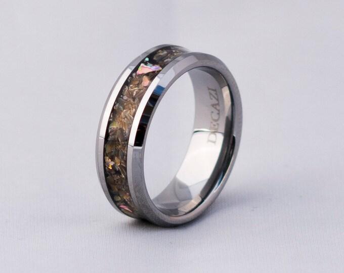 Abalone tungsten ring, tungsten ring, Abalone ring mens wedding band, ring, Diamonds, Abalone shell, personalized ring crushed abalone shell