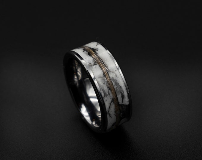 Glow in the dark ring, Gold wire ring, meteoriet ring, glowstone ring, male engagement ring, mens wedding band, tungsten ring, glow ring.