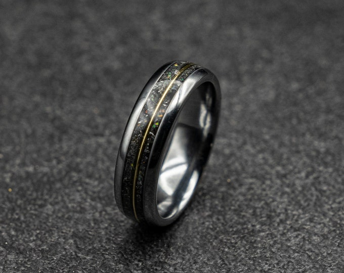 Black friday, meteorite ring, Glow in the dark ring, glow ring, Gold tungsten ring, tungsten ring men, mens wedding band, mens ring.