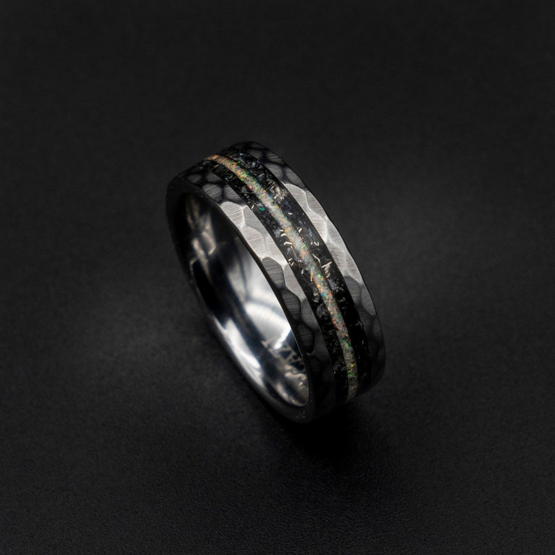 Moonstone ring Meteorite mens ring lunar jewelry tungsten image 0