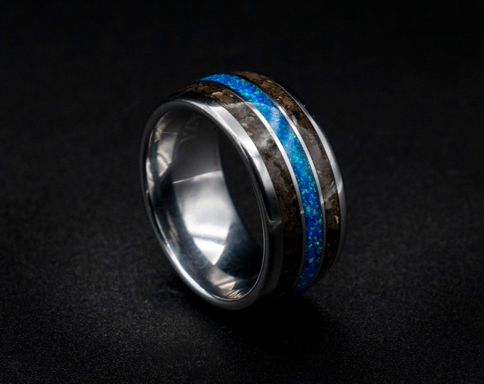 Dinosaur fossil ring, T-rex, tyrannosaurus, dinosaur jewelry, wedding band, Mens ring, Blue opal ring, opal engagement ring, unique, custom.