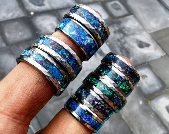 Sale!! mens opal ring. Galaxy opal. Tungsten ring for men. meteorite opal ring. Hammered. wedding band men. ring with opal inlay