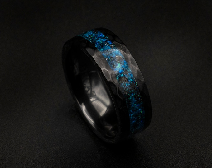 Black Ceramic Opal Inlay Wedding Band, Unique Wedding Band, Galaxy Glowstone Ring, Unique Galaxy Ring, Custom Wedding Ring