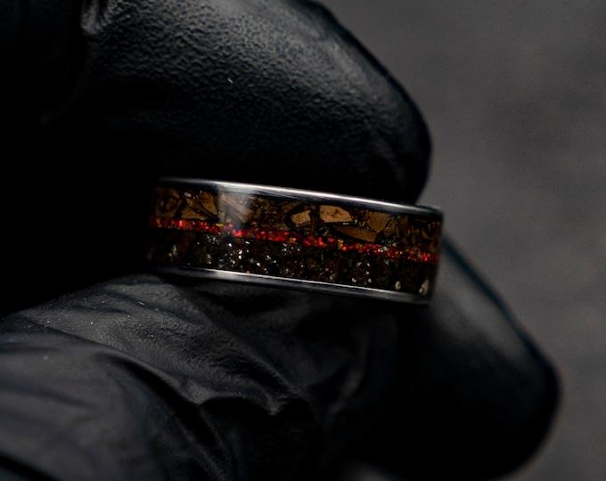 Moon, dinosaur bone ring, fossil, mens wedding band, tungsten ring, t-rex ring, jewelry, meteorite ring men, engagement,