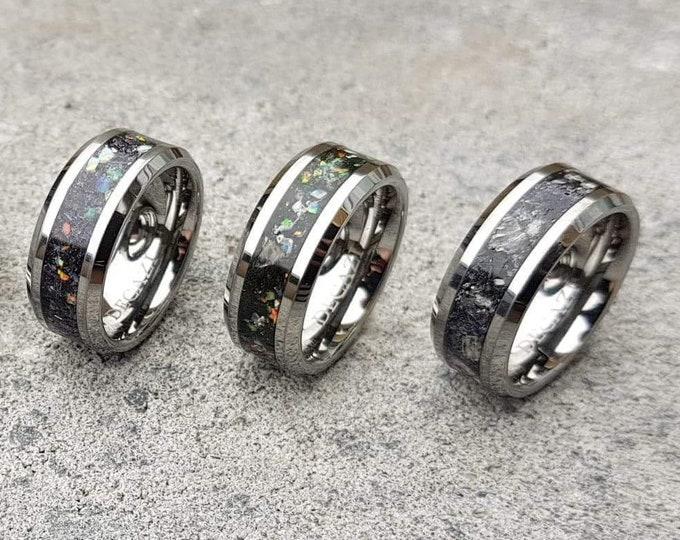 Moonstone Tungsten Ring,moon ring, Rainbow moonstone, Gemstone ring, , moonstone, Men's Wedding Band, Tungsten, Tungsten Band