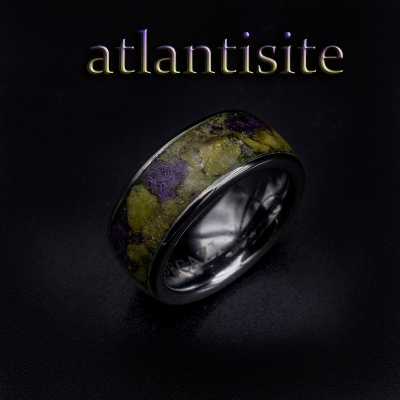 atlantisite ring earth stone ring Glow in the dark ring image 0