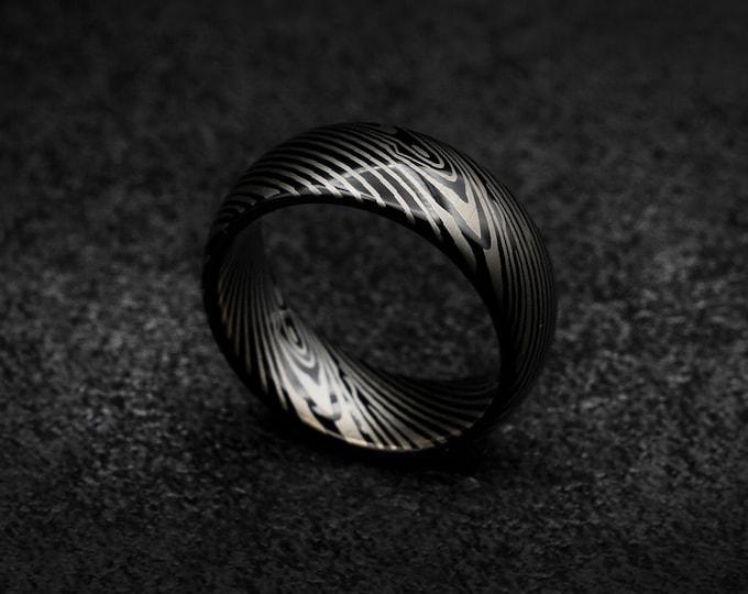 Damascus ring, Black tungsten ring, Damascus tungsten ring, mens tungsten ring, Personalised ring,  Wedding band mens, damascus steel ring.