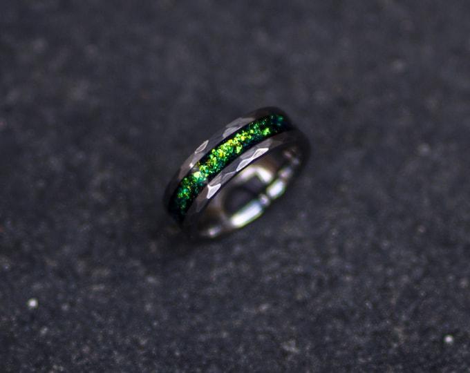 Tungsten ring, wedding,gift for men, mens wedding band, opal engagement ring, handmade, boyfriend gift, meteorite, personalized ring.