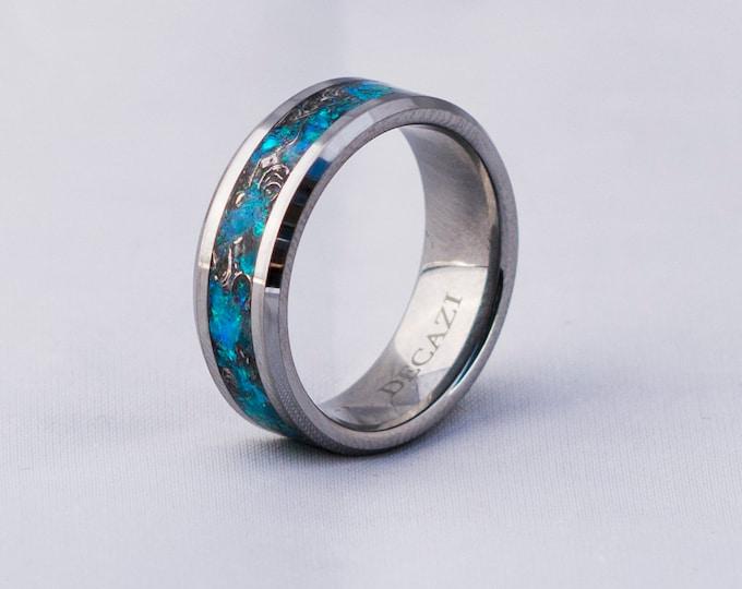 mens opal ring. Tungsten ring for men. meteorite opal ring. unique opal ring. unique tungsten ring