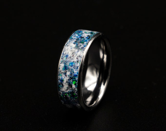 Black Friday sale, Glow in the dark, glow ring, blue opal ring, tungsten ring.