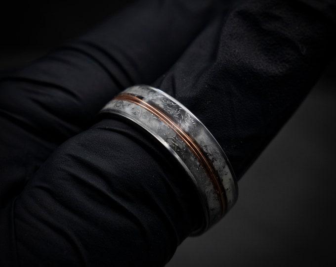 meteorite ring, rose Gold tungsten ring, Glow in the dark ring, glow ring, tungsten ring men, Lunar jewelry, mens wedding band, mens ring.