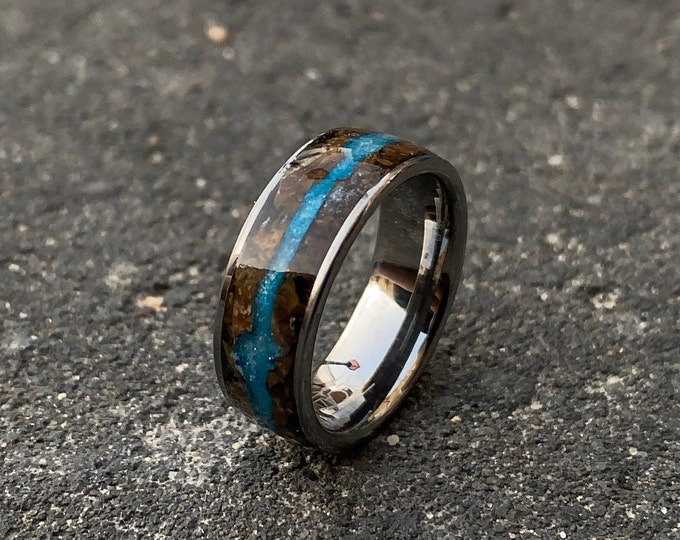 Glow in the dark. Tungsten opal ring with Petrified wood. tungsten wedding band. Mens wedding band. mens tungsten ring. Decazi