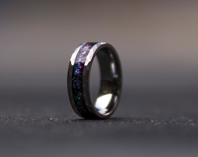 Hammerd tungsten ring, wedding, mens wedding band, opal engagement ring, handmade, wedding gift, tungsten ring, personalized ring.