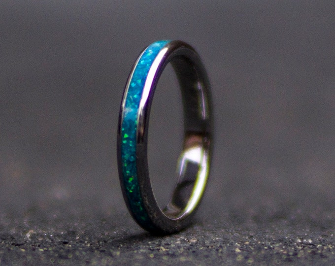opal engagment ring. tungsten ring. Stackable ring. stacking rings. stackable ring set