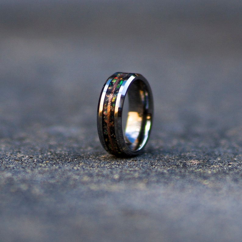 Moonstone Tungsten Ring with white opal and copper line. image 0