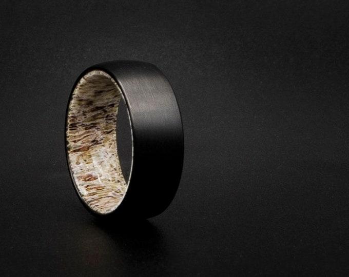 Cheap wedding ring, cheap ring, deer antler ring, unique wedding band, couple ring, cheap jewelry, Black tungsten ring, cool man, bone,