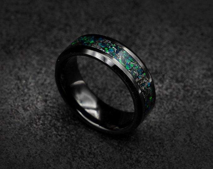 The green Hulk ring, Marvel,  opal ring, opal engagement ring, opal wedding ring, meteorite ring men, green fire opal ring | Decazi