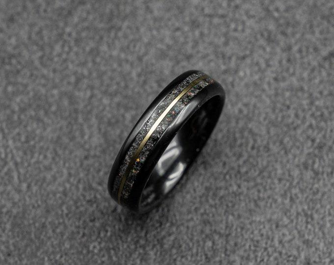 Meteorite ring,  glow ring, Gold tungsten ring, ceramic ring men, mens wedding band, mens ring, Glow in the dark ring,