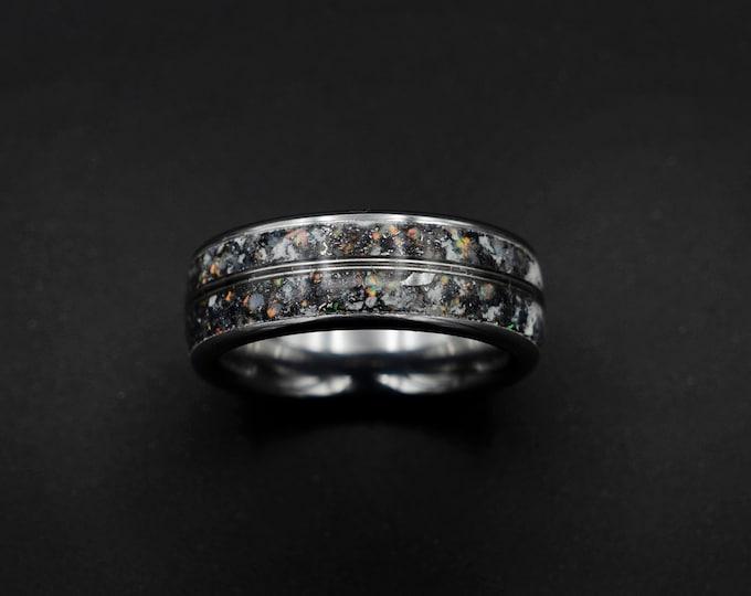 READY TO SHIP meteorite ring, opal ring, Glow in the dark ring, glow ring, Platinum ring, tungsten ring men, Lunar jewelry, meteorite ring