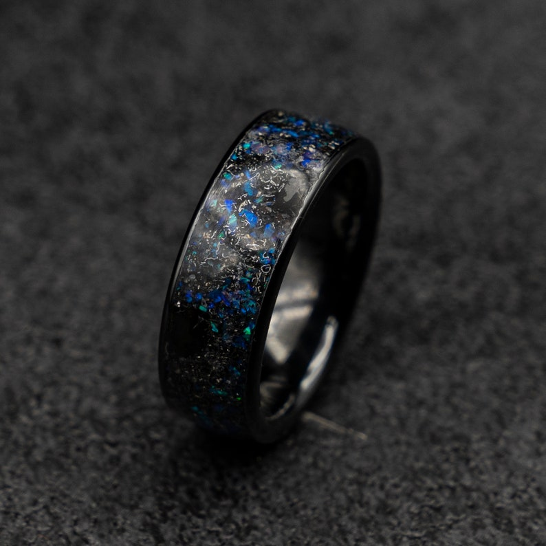 purple opal. mens wedding band triceratops ring meteorite ring men jewelry dinosaur bone ring engagement black ceramic ring