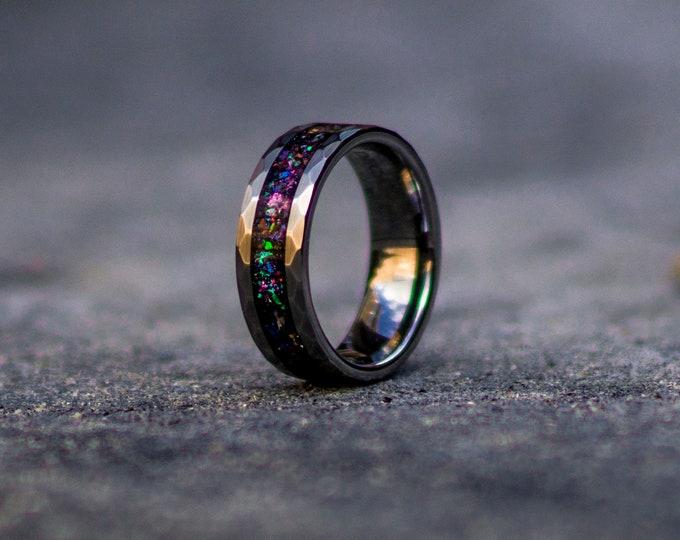 Tungsten galaxy ring,wedding ring, mens wedding band, opal ring, gift for men, boyfriend gift, personalized ring, wedding bands, Galaxy ring