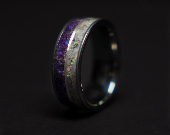 Mens tungsten ring, healing jewelry, Healing crystal ring, Amethyst jewelry, herkimer diamond crystal ring, Glowstone ring,