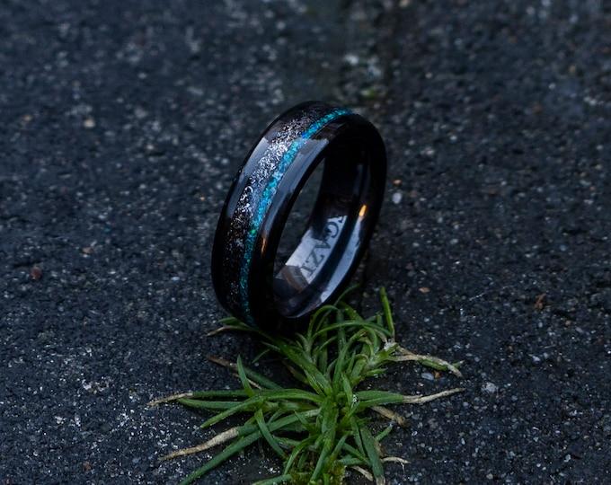 Black galaxy ceramic ring, wedding, mens wedding band, opal ring, boyfriend gift, tungsten ring, meteorite, meteorite ring, ceramic ring.