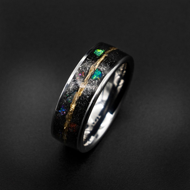 Meteorite ring mens opal ring Lunar jewelry Gold tungsten image 0