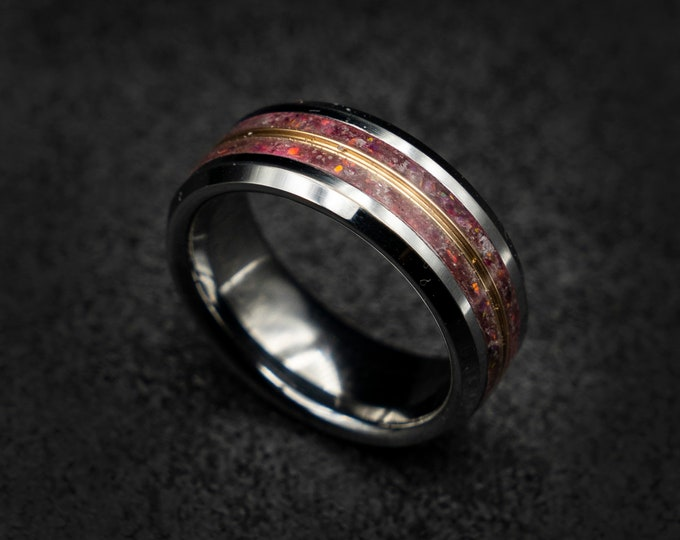 Decazi, Birthstone ring, ring men, mens wedding band, mens opal ring, wedding band mens, opal engagement ring, tungsten ring, rings for men.