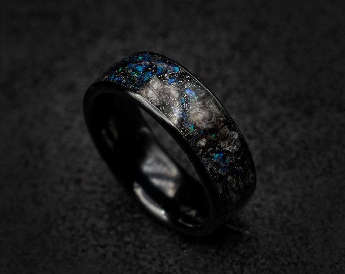 mens wedding band, black ceramic ring, dinosaur bone ring, triceratops ring, jewelry, meteorite ring men, engagement, purple opal.