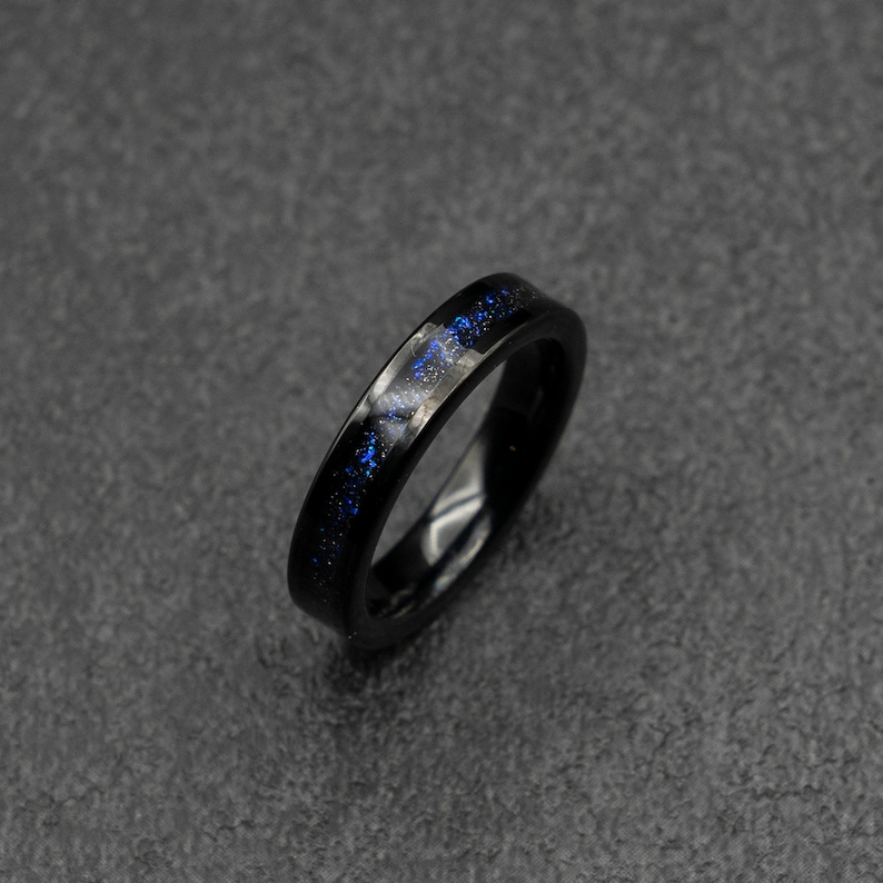Black Tungsten ring with fine galaxy opal in 4mm wide. image 0