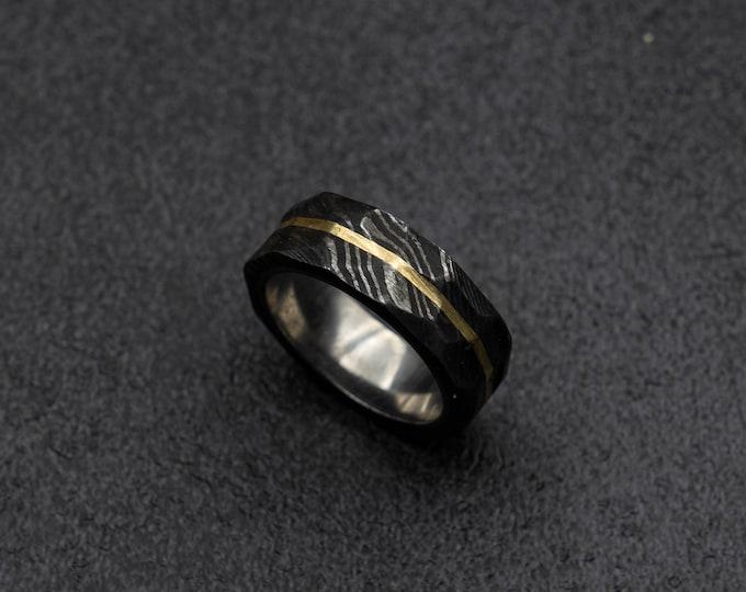 Obsidian Damascus ring mens, rustic ring, damascus steel and mens ring, men's rustic ring, mens wedding band, gun metal