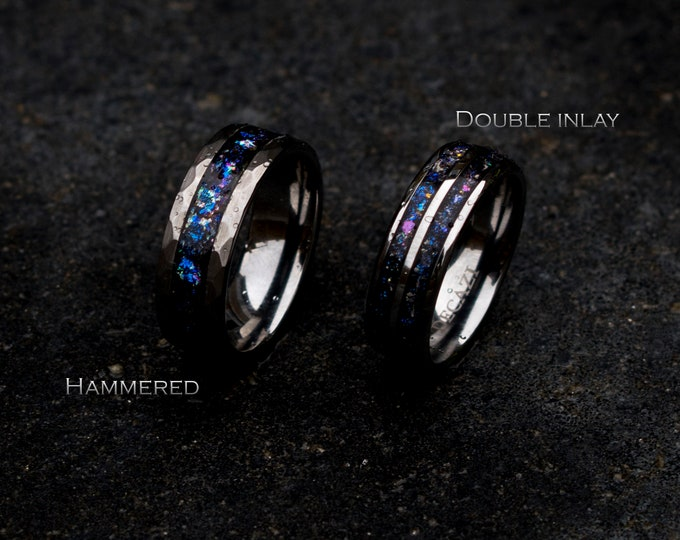 man opal ring. Galaxy opal. Tungsten ring for men. meteorite opal ring. It's Hammered. wedding band men. ring with opal inlay