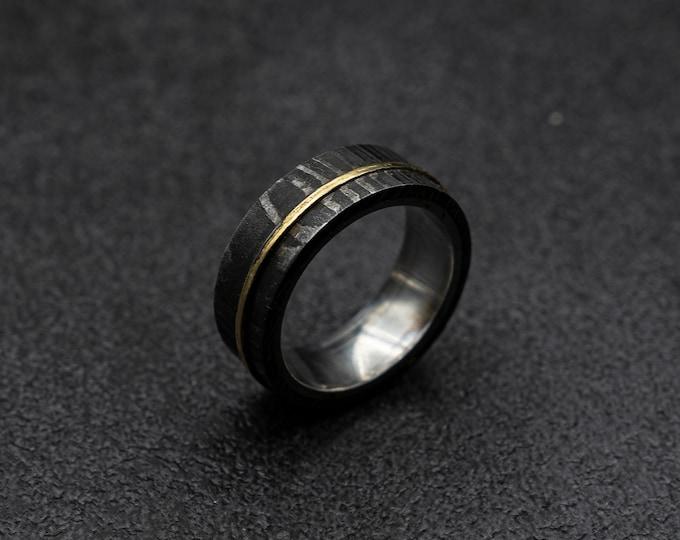 Damascus ring mens, damascus steel and mens ring, rusting wedding ring, men's rustic ring, mens wedding band, gun metal