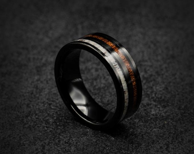 Black tungsten ring, Deer antler ring, mens tungsten ring, Personalised ring, Wedding band mens, Koa wood ring, Free engraving, engagement.