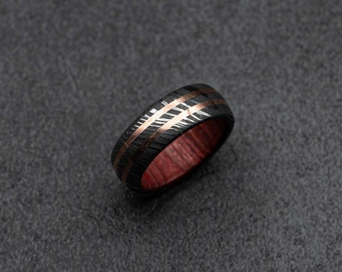 Damascus ring mens, damascus steel and mens ring, rustic mens ring, men's rustic ring, mens wedding band, gun metal
