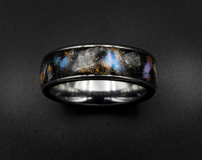 glow Stone ring, Genuine opal, australian opal ring, meteorite dust, mens ring, galaxy opal, mens wedding band, tungsten, raw gemstone.