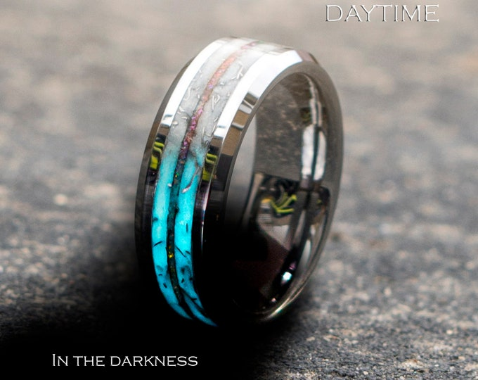 Personalised gift, Tungsten opal ring with meteorite and purple opal. tungsten wedding band. Mens wedding band. Marble ring. Marble.