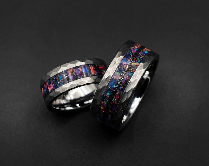 opal jewellery, mens tungsten ring. Meteorite ring. man wedding band. tungsten ring. purple opal ring. Galaxy Opal. man opal ring